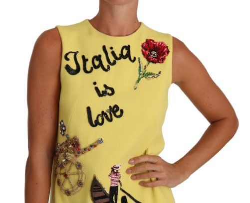 635612 Yellow Italia Is Love Crepe Embroidered Crystal Dress 2.jpg