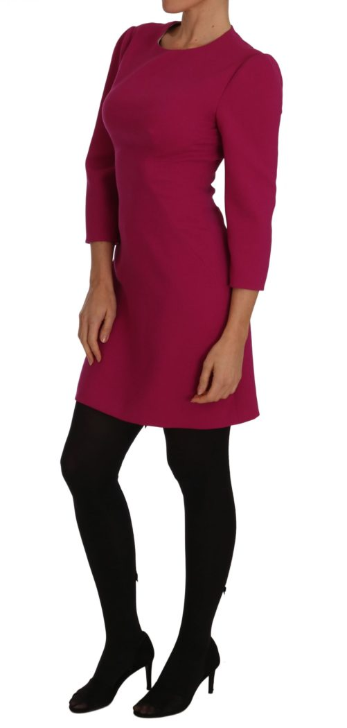 635715 Pink Crepe Sheath Wool Mini Length Dress 2 1.jpg