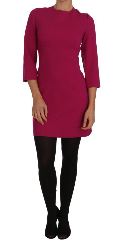 635715 Pink Crepe Sheath Wool Mini Length Dress 5.jpg