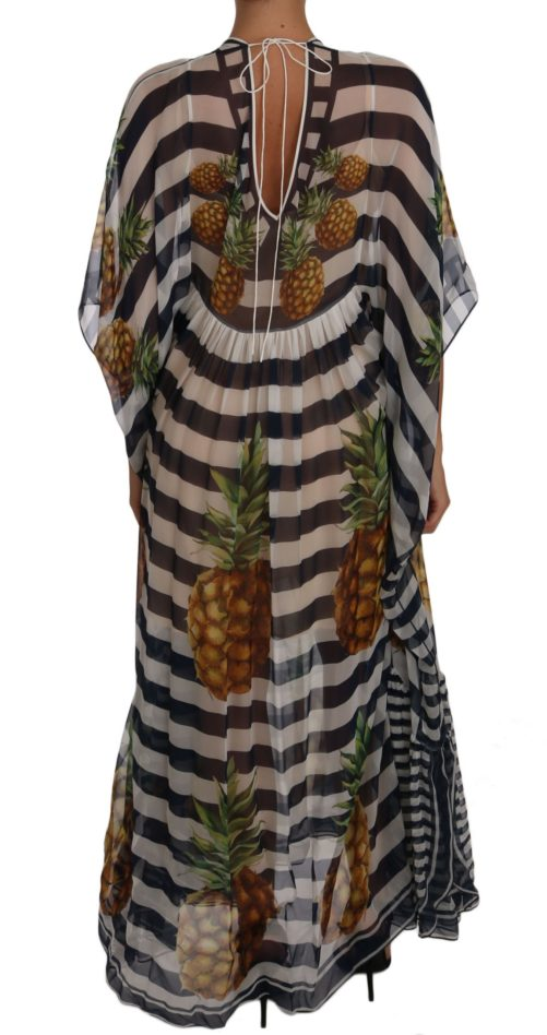 637164 Blue White Silk Striped Pineapple Tunic Gown Maxi Dress 5.jpg