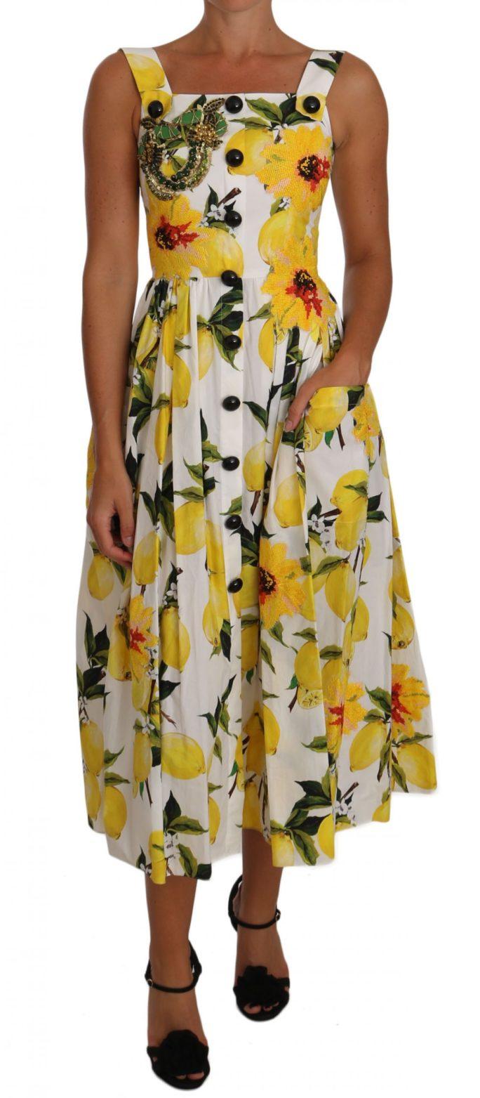 637362 Lemon Print Embellished Floral A Line Dress.jpg