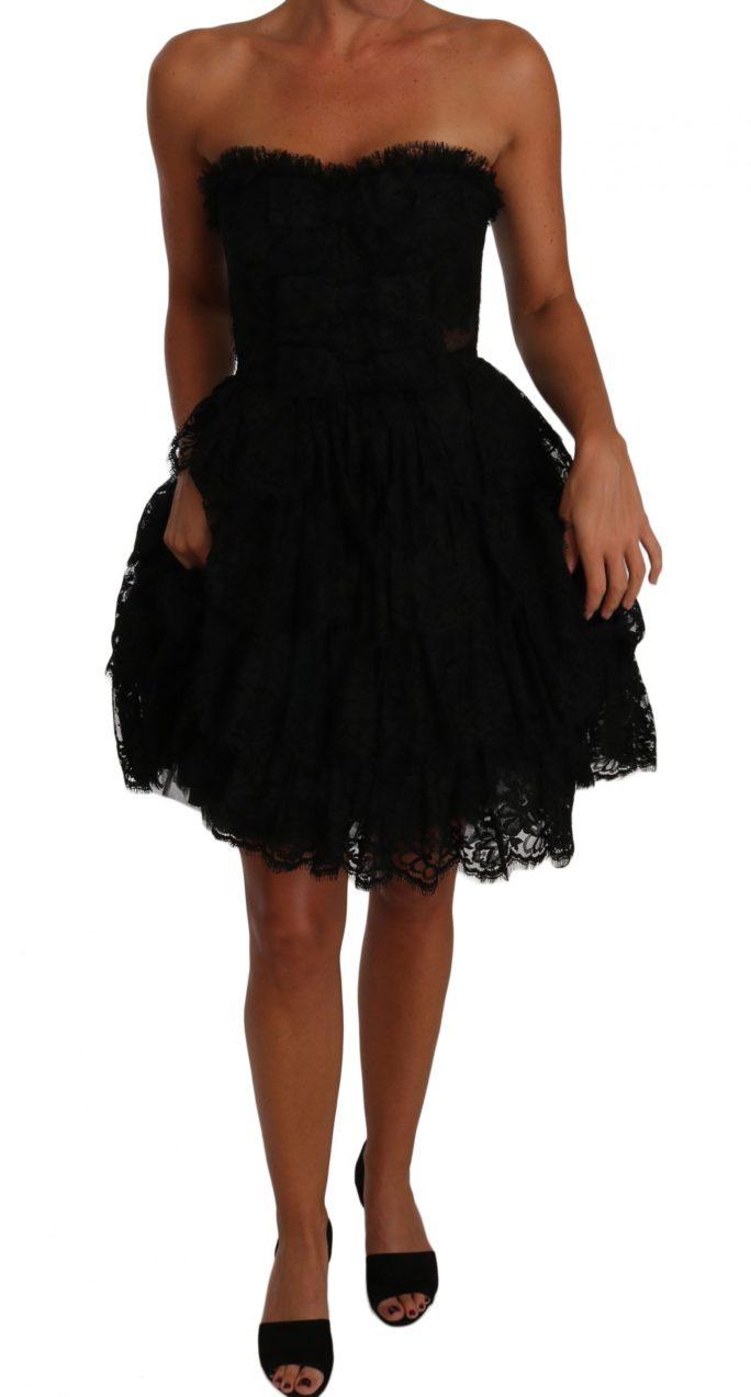 637894 Black Floral Lace Ball Mini Ruffle Dress 8.jpg