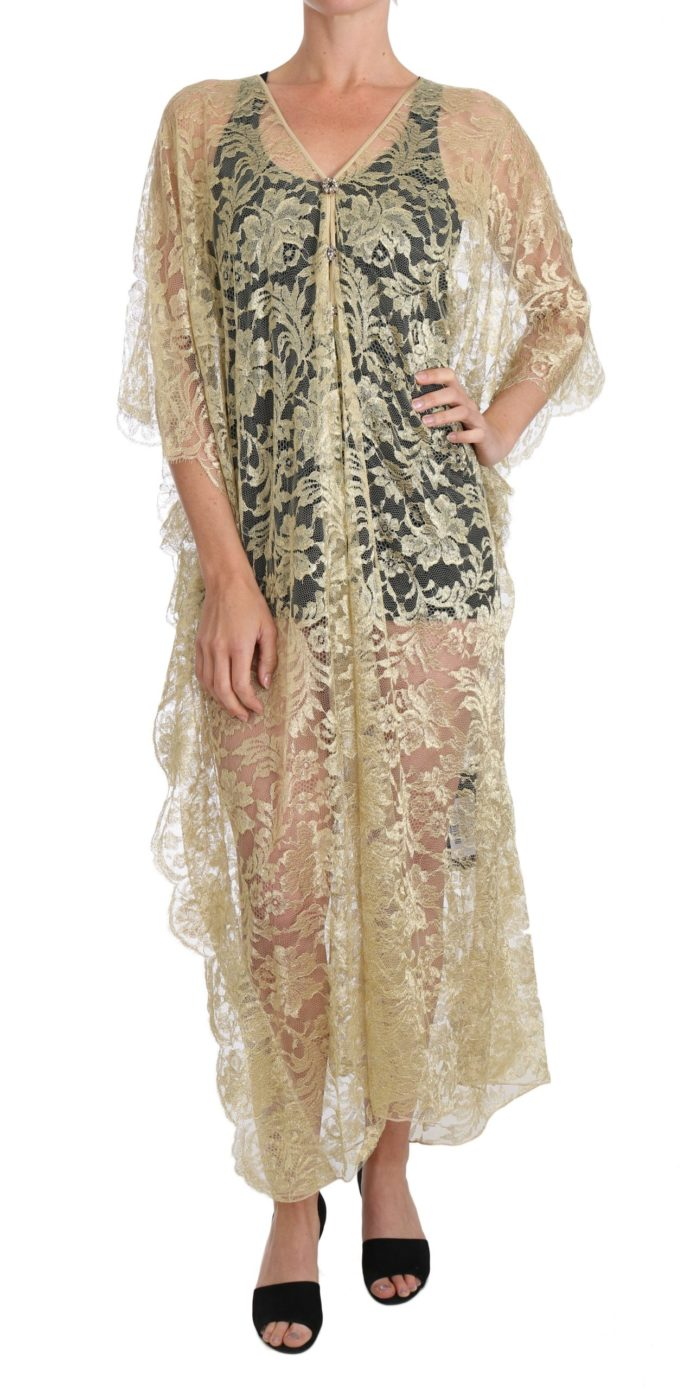 637951 Gold Floral Lace Crystal Gown Cape Dress.jpg
