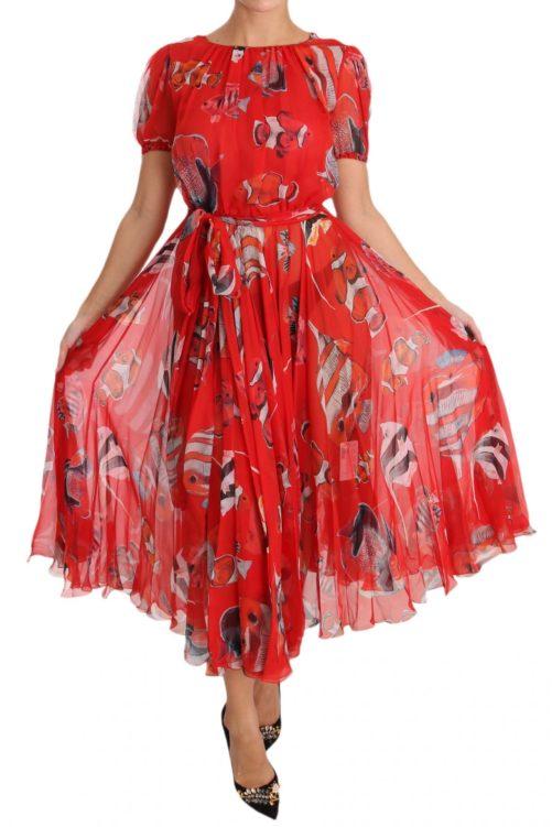 638600 Red Silk Fish A Line Shift Gown Dress 2.jpg