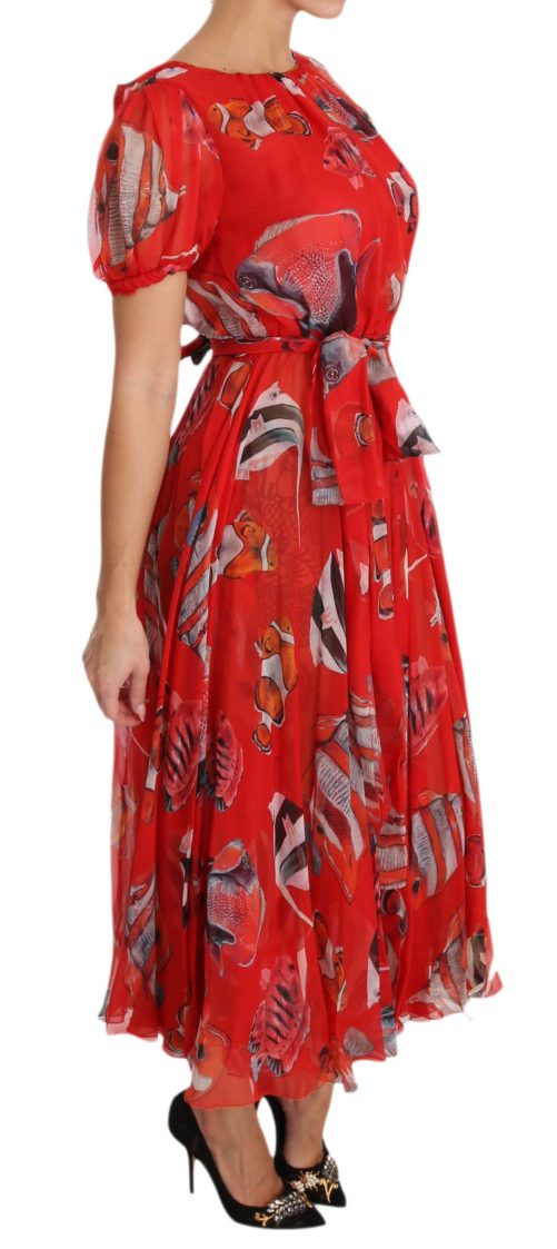 638600 Red Silk Fish A Line Shift Gown Dress 3.jpg