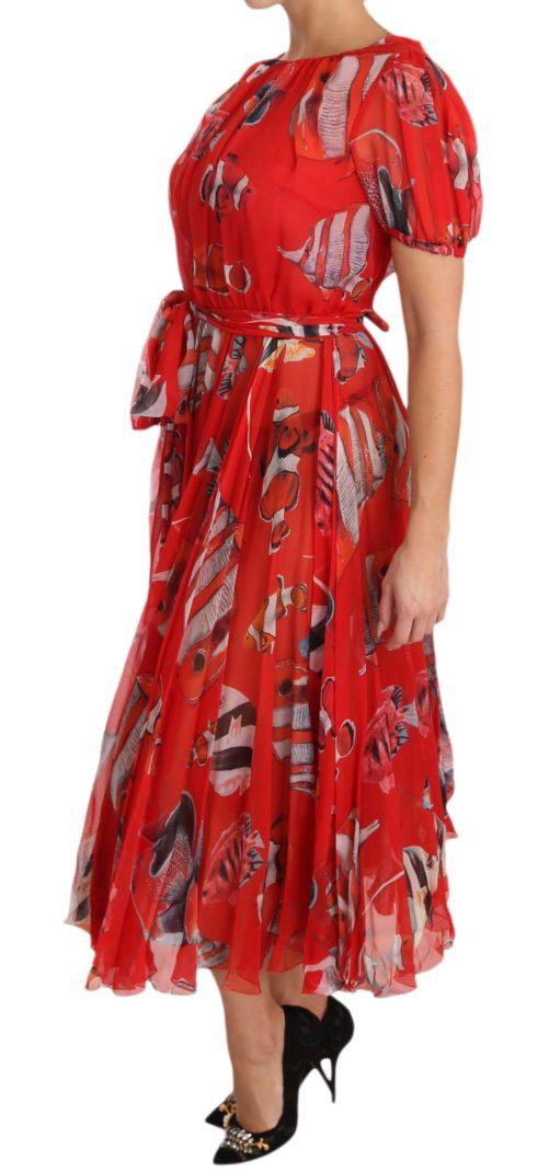 638600 Red Silk Fish A Line Shift Gown Dress 4.jpg