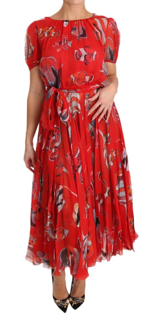 638600 Red Silk Fish A Line Shift Gown Dress.jpg