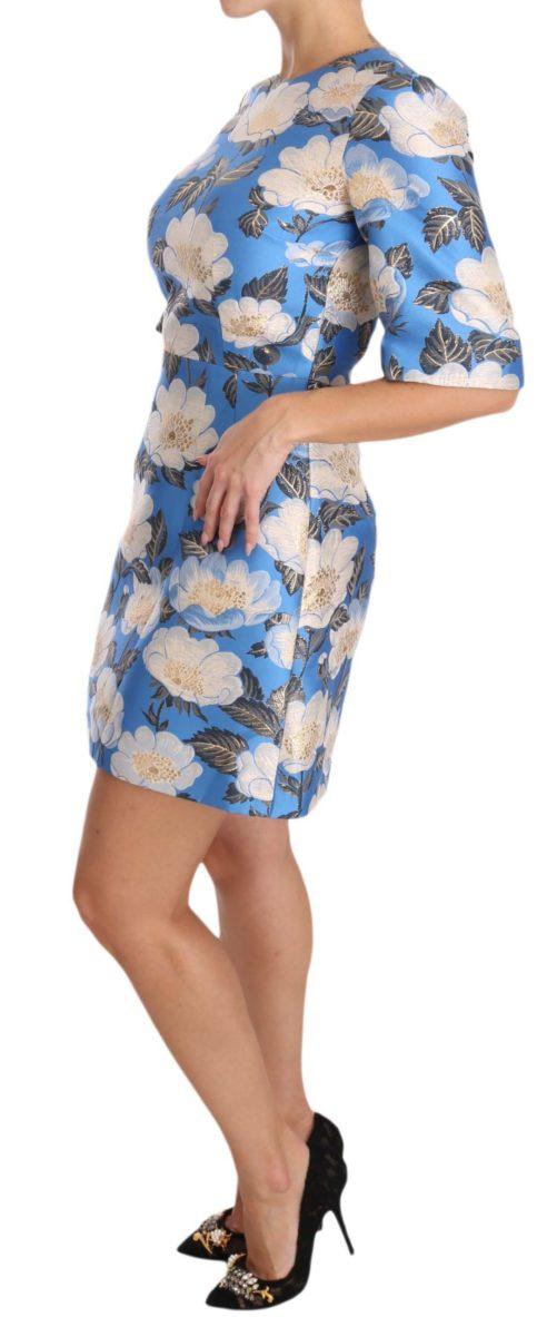 638671 Blue Floral Jacquard Crystal A Line Dress 2.jpg