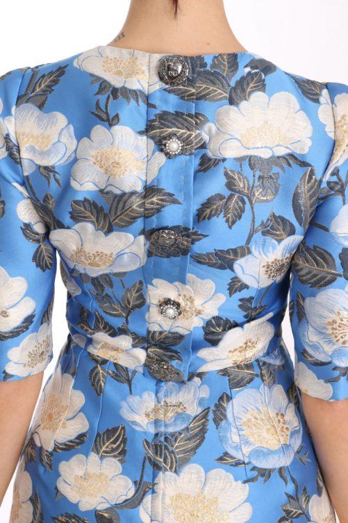 638671 Blue Floral Jacquard Crystal A Line Dress 4.jpg