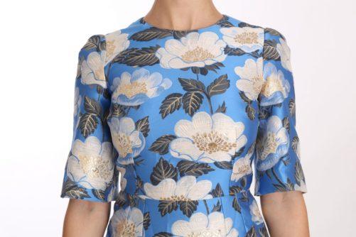 638671 Blue Floral Jacquard Crystal A Line Dress 5.jpg