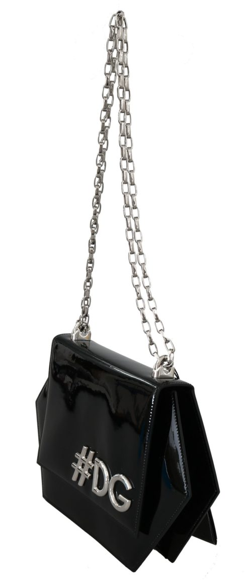 632242 Black Patent Leather Hexagonal Shoulder Purse 1.jpg