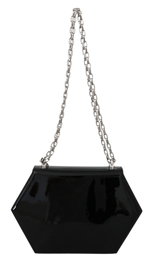 632242 Black Patent Leather Hexagonal Shoulder Purse 3.jpg