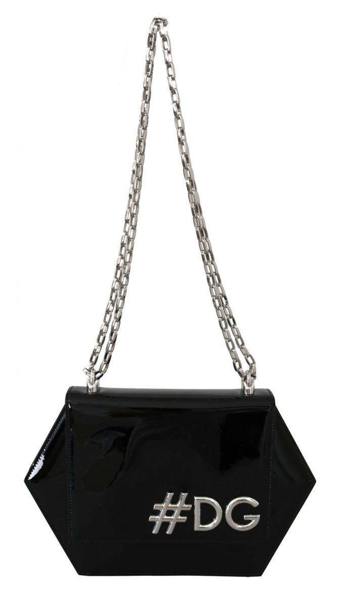 632242 Black Patent Leather Hexagonal Shoulder Purse.jpg