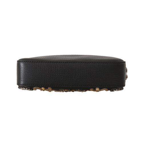 632329 Black Leather Crystal Beaded Clutch Toiletry Wallet 1.jpg