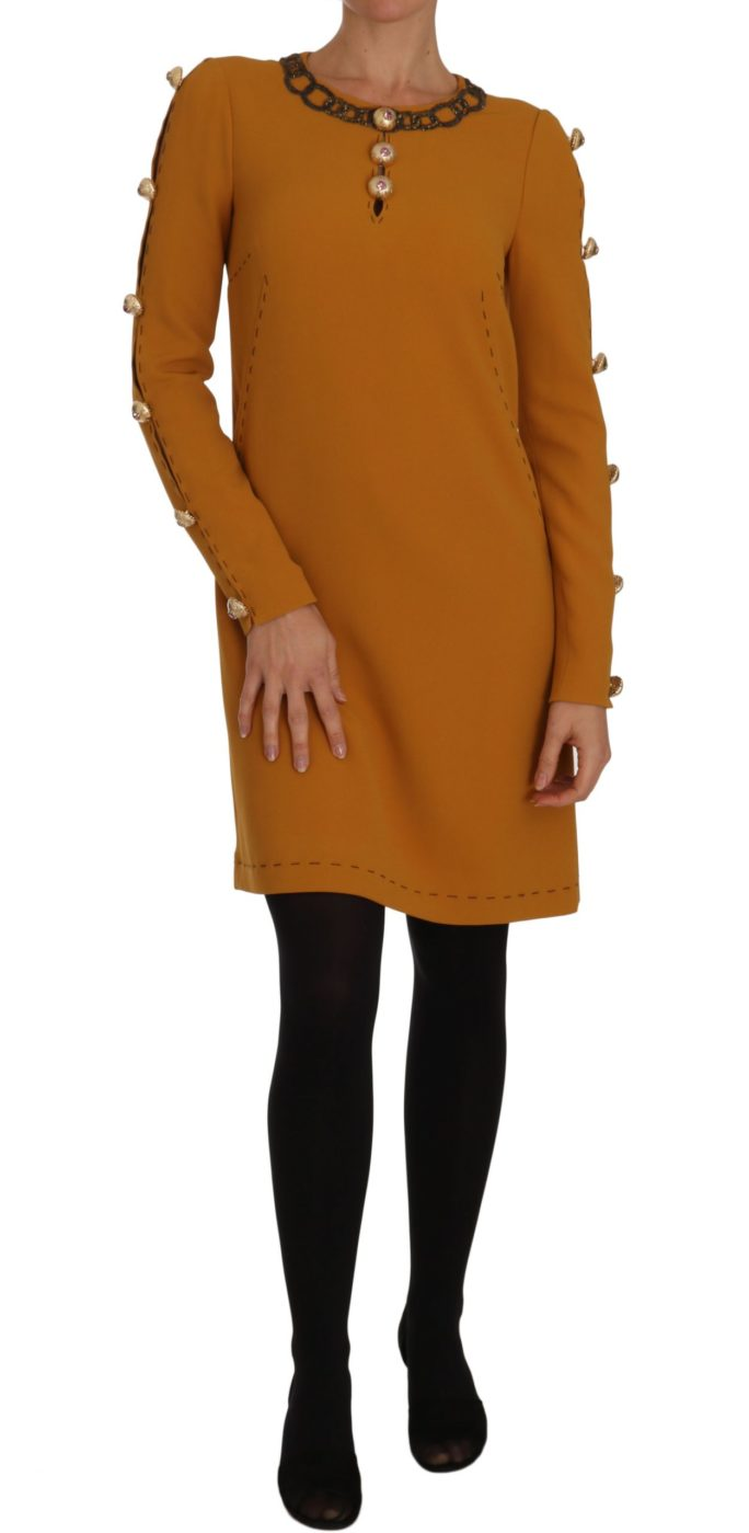 635699 Brown Mini Crystal Embellished Dress.jpg