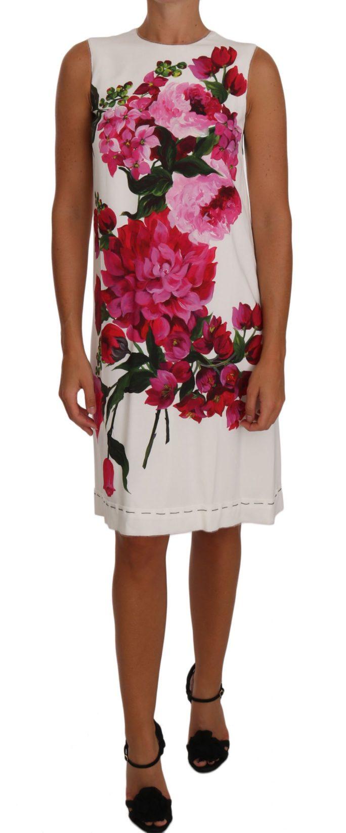 637384 Pink White Peony Print A Line Shift Gown Dress.jpg