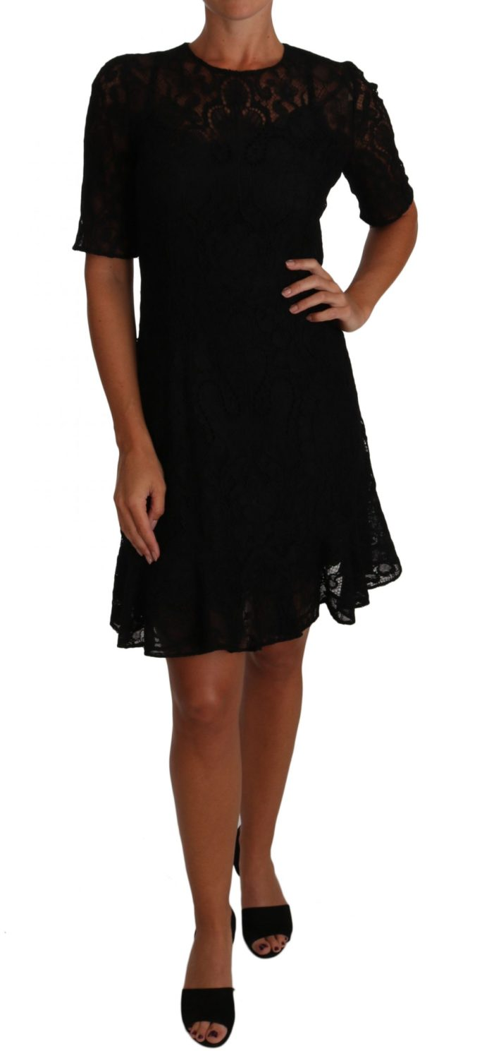 637803 Black Floral Lace Sheath Short Sleeves Dress.jpg