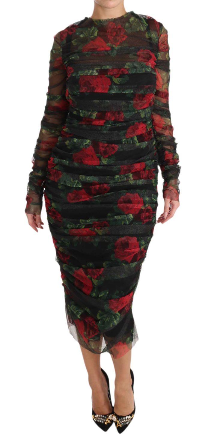638727 Black Red Roses Sheath Bodycon Dress.jpg