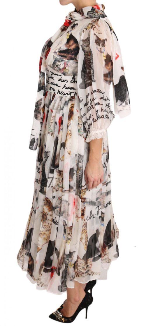 639723 Bengal Cat White Silk Shift A Line Dress 1 1.jpg