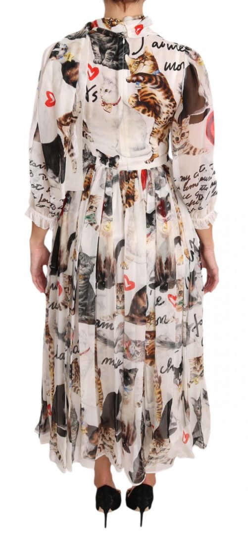 639723 Bengal Cat White Silk Shift A Line Dress 2 1.jpg