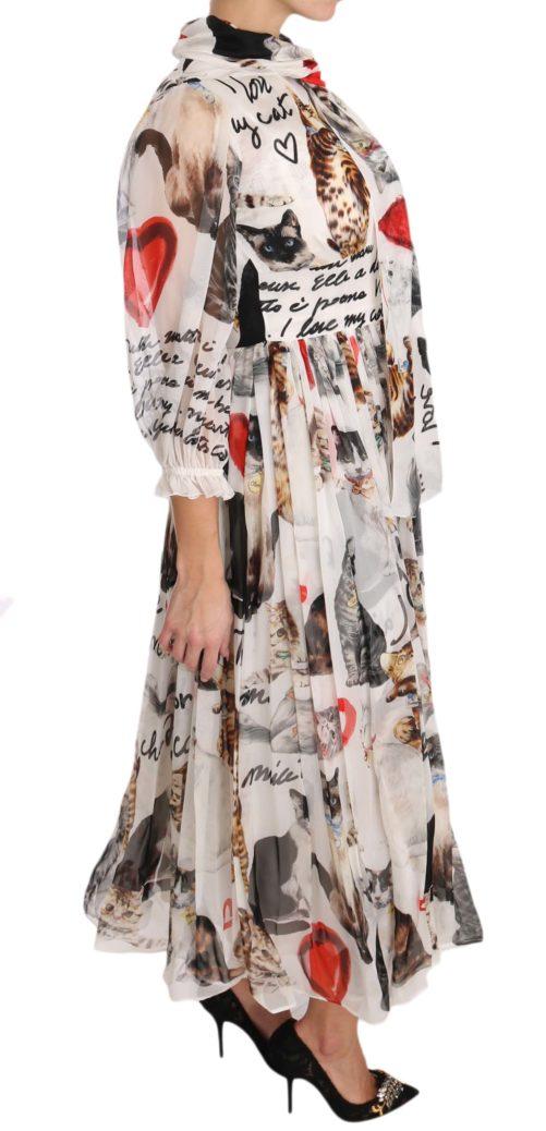 639723 Bengal Cat White Silk Shift A Line Dress 4 1.jpg