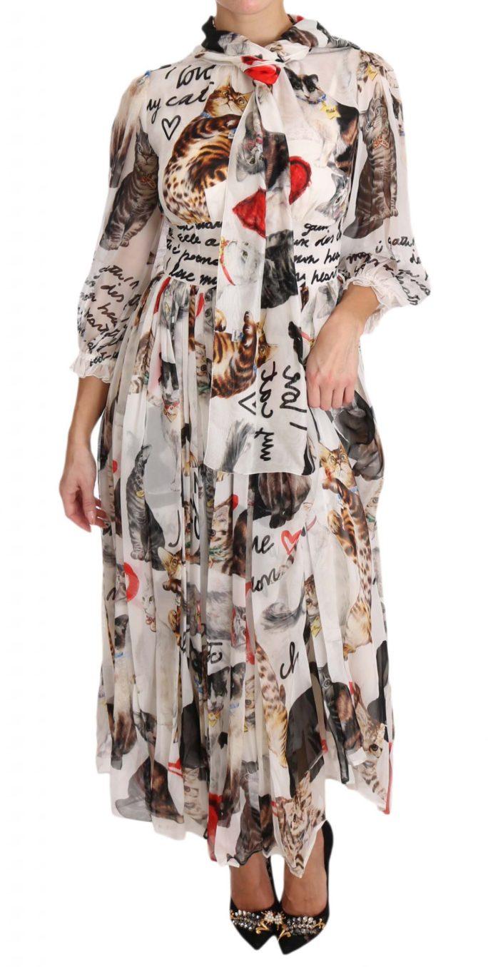639723 Bengal Cat White Silk Shift A Line Dress 6.jpg