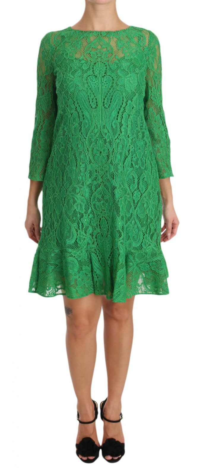 639797 Green Floral Lace Shift A Line Dress.jpg