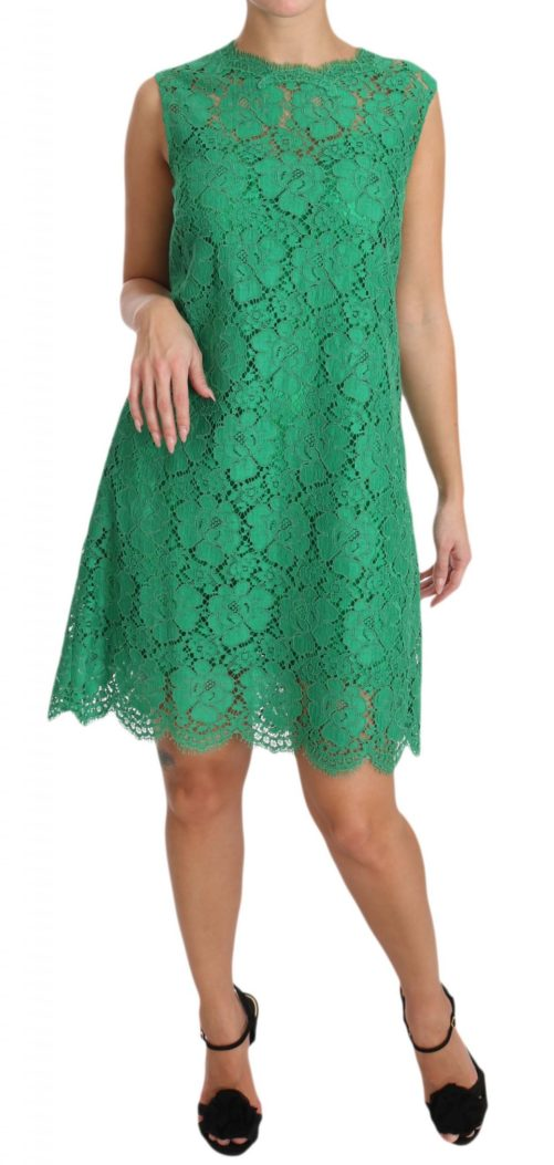 639816 Green Floral Lace Shift A Line Dress 2 2.jpg
