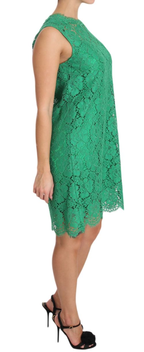 639816 Green Floral Lace Shift A Line Dress 2 3.jpg