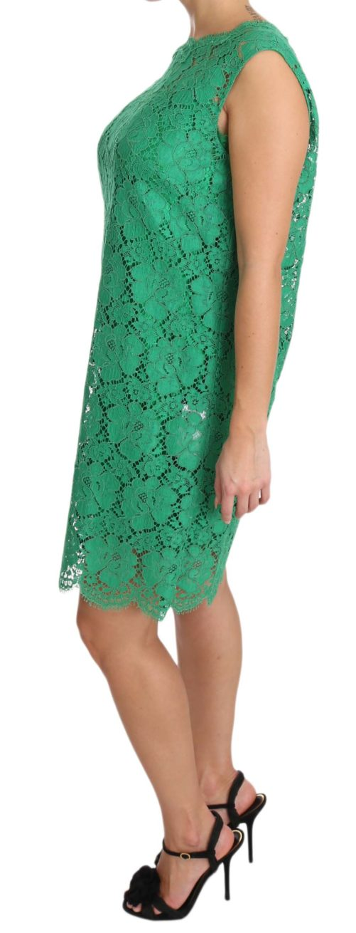 639816 Green Floral Lace Shift A Line Dress 2 4.jpg