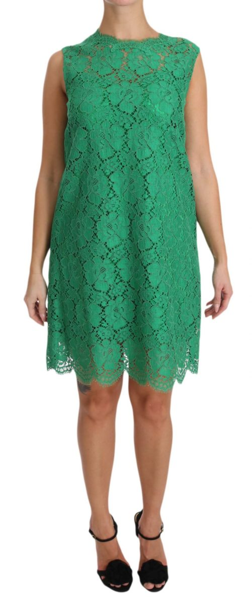 639816 Green Floral Lace Shift A Line Dress 2.jpg