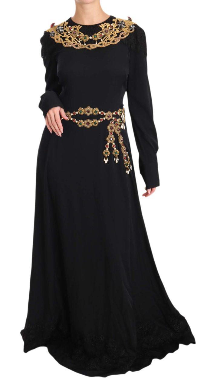639922 Black Silk Stretch Gold Crystal Dress.jpg