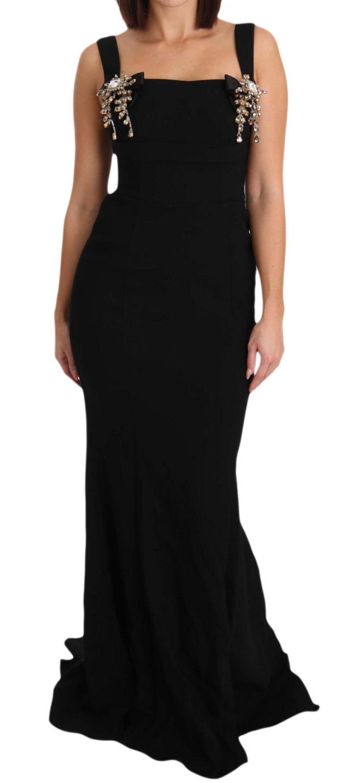 639956 Black Stretch Crystal Fit Flare Gown Dress 6.jpg