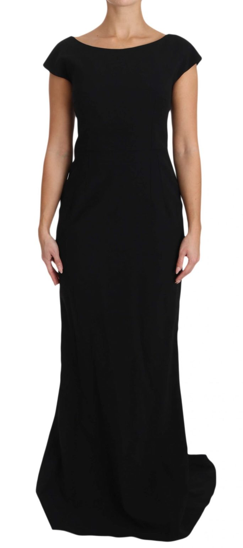 640030 Black Stretch Fit Flare Gown Maxi 8.jpg