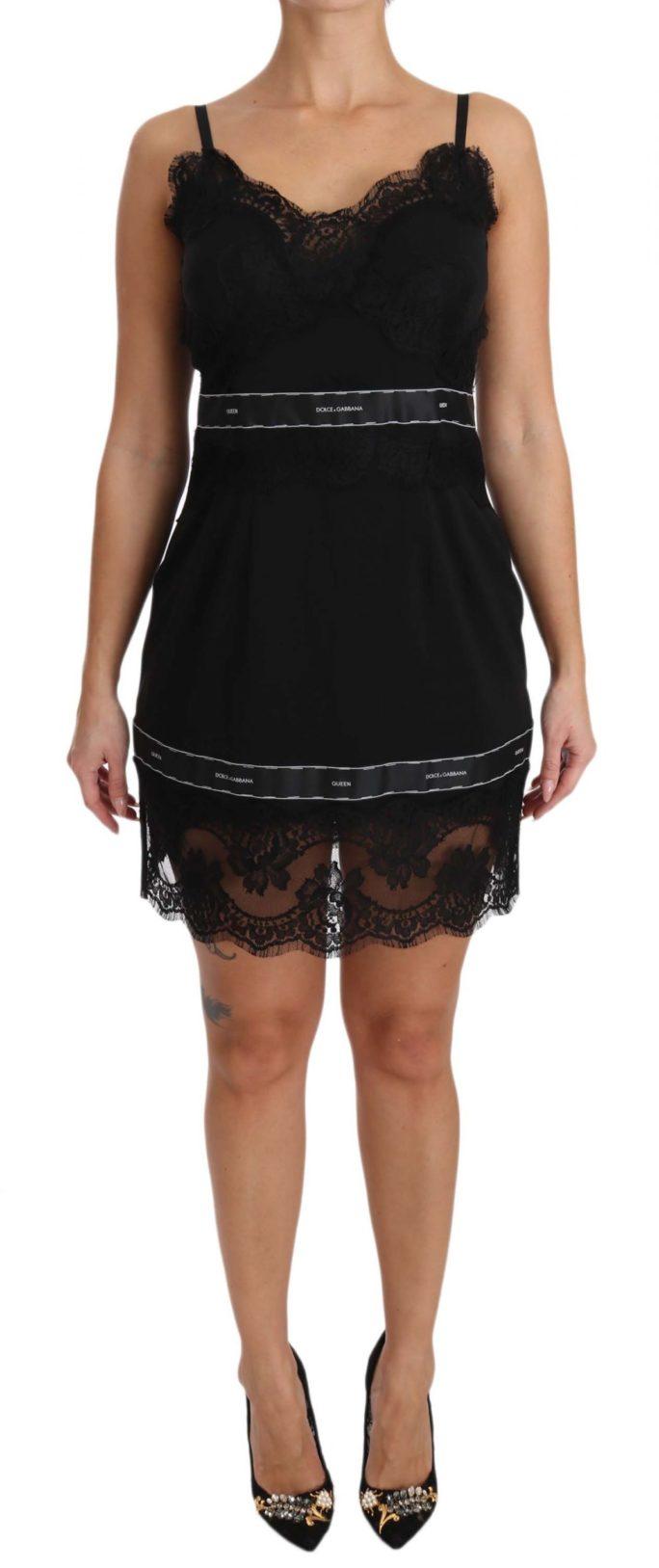 641013 Black Lace Queen Silk Stretch Mini Dress 3.jpg