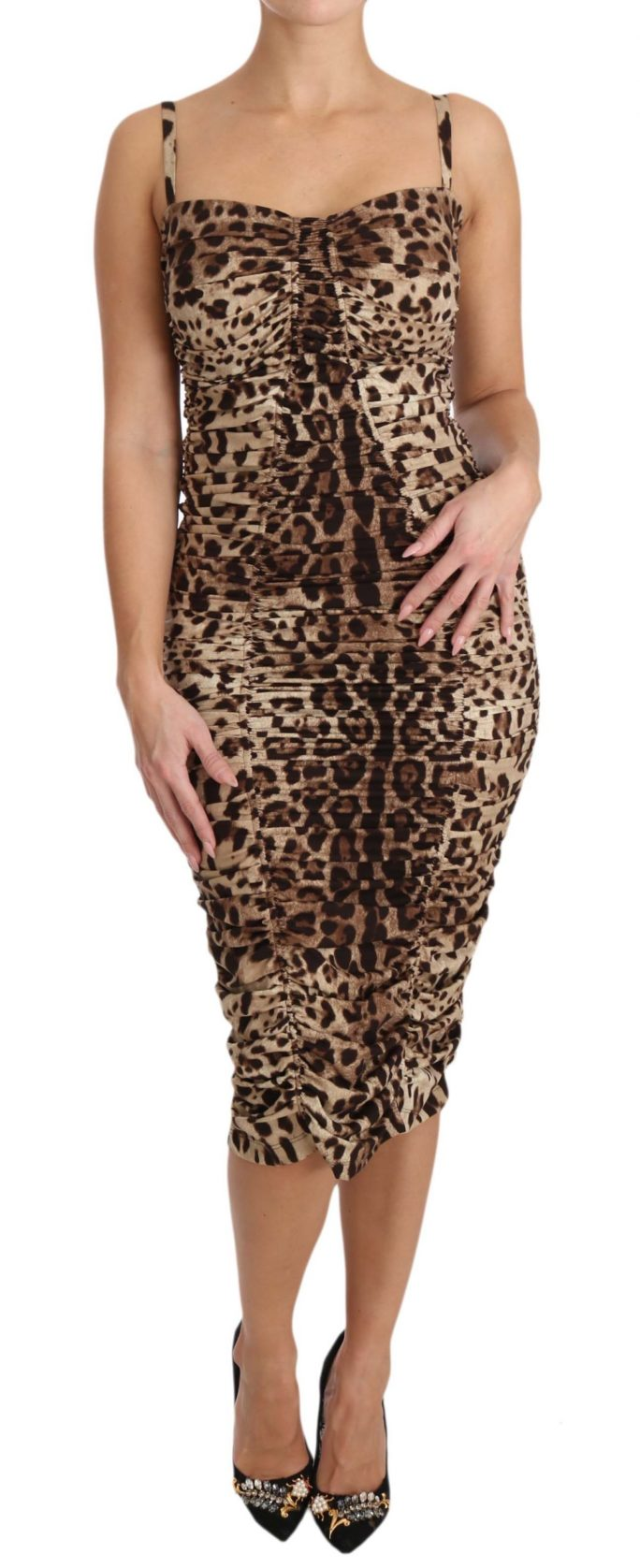641142 Brown Leopard Silk Sheath Bodycon Dress.jpg