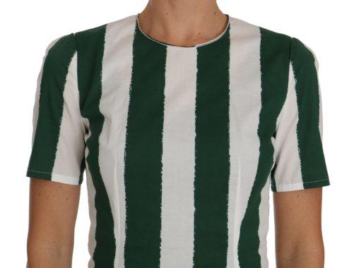 641428 White Green Striped Printed Blouse Top 1.jpg