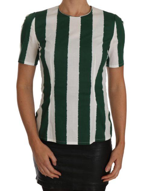 641428 White Green Striped Printed Blouse Top.jpg