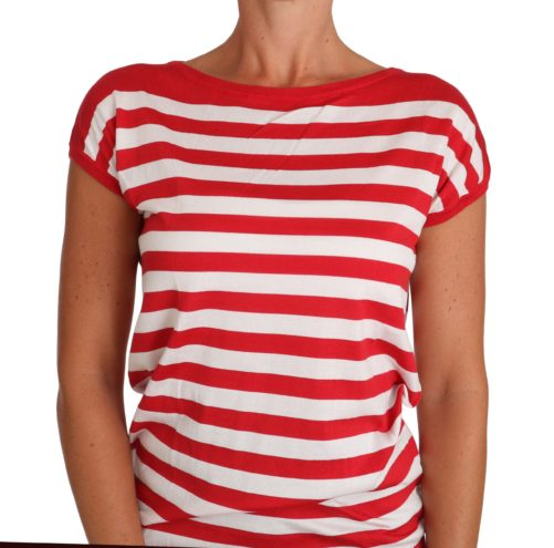 Silk Red White Striped T-shirt, Fashion Brands Outlet