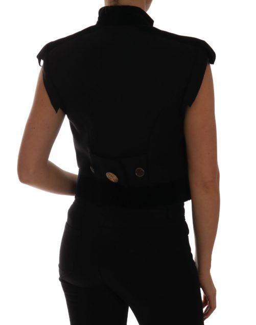 644217 Black Embellished Floral Military Jacket Vest 1.jpg