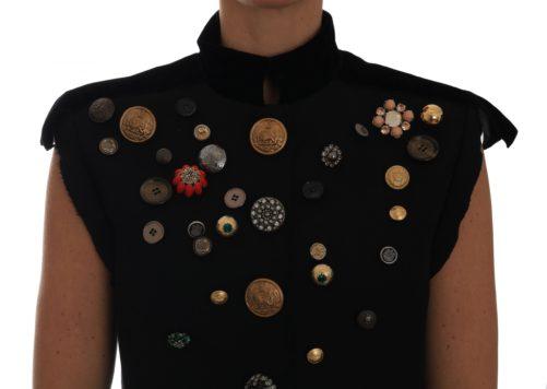 644217 Black Embellished Floral Military Jacket Vest 2.jpg