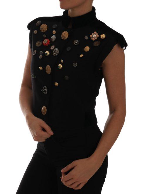 644217 Black Embellished Floral Military Jacket Vest 3.jpg