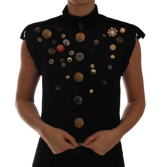 644217 Black Embellished Floral Military Jacket Vest.jpg
