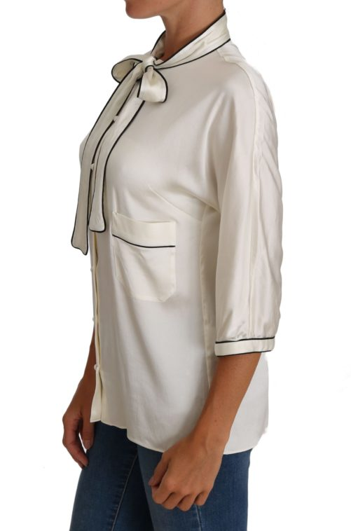 644365 White Silk Pussy Bow Blouse Shirt 3.jpg