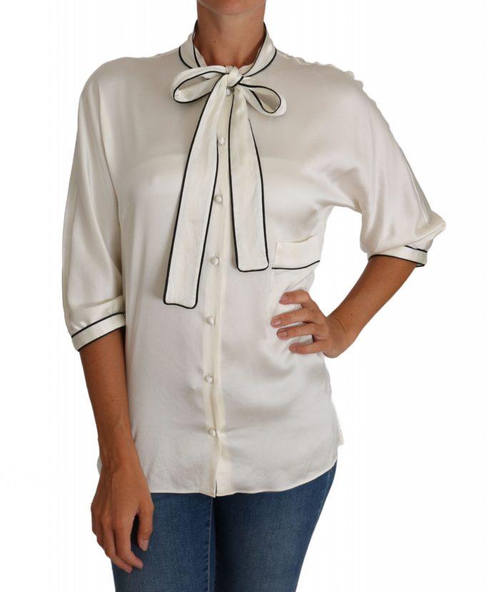 644365 White Silk Pussy Bow Blouse Shirt.jpg
