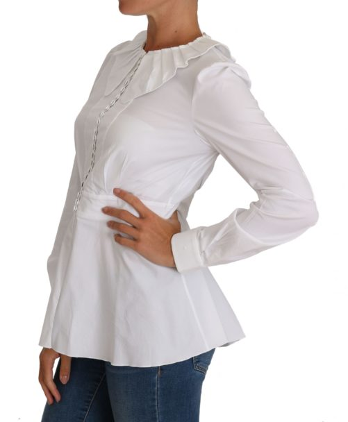 644380 White Fitted Cotton Blouse Stretch Shirt 1.jpg