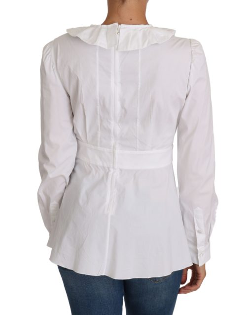 644380 White Fitted Cotton Blouse Stretch Shirt 2.jpg