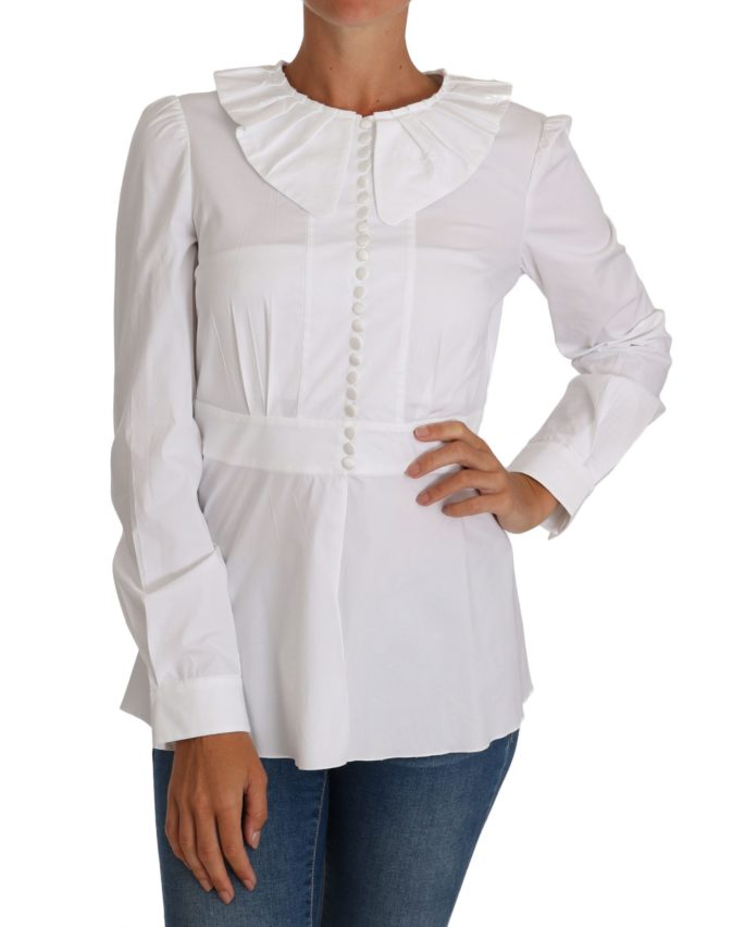 644380 White Fitted Cotton Blouse Stretch Shirt.jpg
