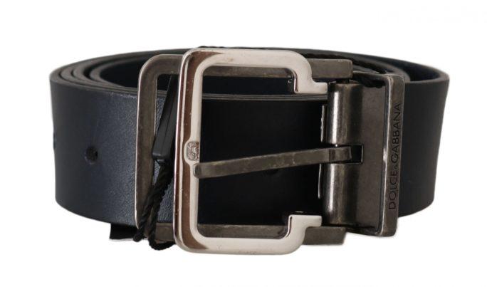646184 Blue Leather Silver Metal Buckle Belt.jpg
