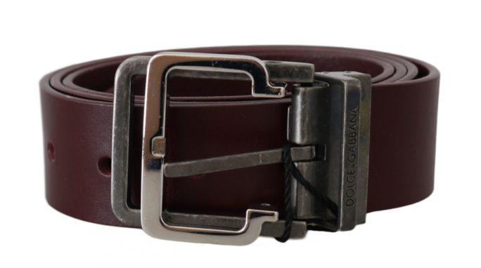 646198 Bordeaux Leather Silver Metal Buckle Belt.jpg